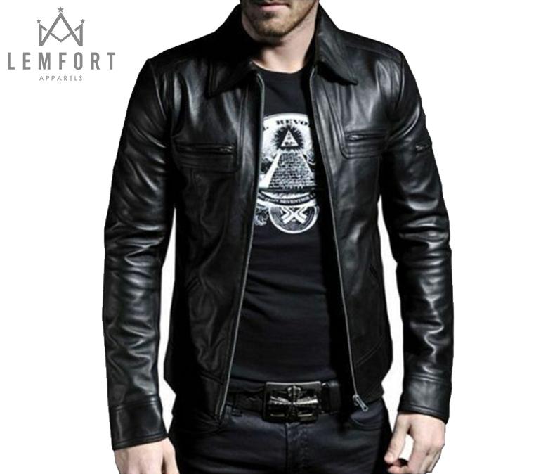 Men/'s Genuine Lambskin Quilted Leather Motorcycle Jacket Slim fit Biker Jacket